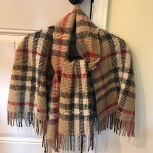 Authentic Burberry Plaid fringed cape
